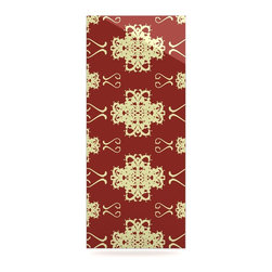 """Kess InHouse - Mydeas """"Asian Motif Damask"""" Red Pattern Metal Luxe Panel (9"""" x 21"""") - Our luxe KESS InHouse art panels are the perfect addition to your super fab living room, dining room, bedroom or bathroom. Heck, we have customers that have them in their sunrooms. These items are the art equivalent to flat screens. They offer a bright splash of color in a sleek and elegant way. They are available in square and rectangle sizes. Comes with a shadow mount for an even sleeker finish. By infusing the dyes of the artwork directly onto specially coated metal panels, the artwork is extremely durable and will showcase the exceptional detail. Use them together to make large art installations or showcase them individually. Our KESS InHouse Art Panels will jump off your walls. We can't wait to see what our interior design savvy clients will come up with next."""