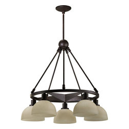 Quorum International - Quorum International 6428-5  Five Light Nook Chandelier from the Lone Star Colle - Five light down lighting nook chandelier featuring Amber Scavo GlassRequires 5 100w Medium Bulbs (Not Included)