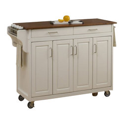 Home Styles - Home Styles Create-a-Cart in White Finish with Oak Top - Home Styles - Kitchen Carts - 92001026G - Home Styles Create-a-cart in a white finish with a 3/4 inch oak finished wood top features solid wood construction, four cabinet doors that open to storage with three adjustable shelves inside, handy spice rack with towel bar, paper towel holder, and heavy duty locking rubber casters for easy mobility and safety. Size: 48.75w 17.75d 34.75h. Assembly required.