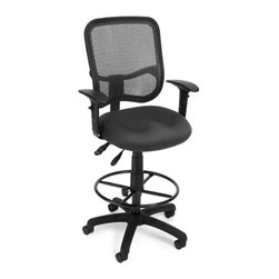 OFM - OFM Comfort Series Ergonomic Task Chair with Arms Draft Kit in Gray - OFM - Drafting Chairs - 130AA3DKA01 - It's all-day comfort and long-term style with OFM's Modern Mesh Ergonomic Task Stool 130-AA3-DK. The back features built-in lumbar support and breathable mesh provides hours of comfort. Plus the mesh and seat fabric are it stain resistant so the chair ke