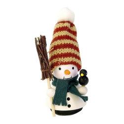 Alexander Taron - Alexander Taron Christian Ulbricht Ornament-Snowman (No String)-4.25H x 2W x 2D - Christian Ulbricht ornament - Snowman with his bird and broom - Made in Germany.