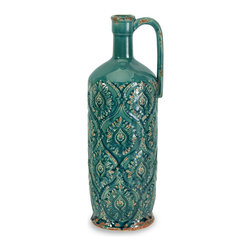 Tall Blue Vintage Look Pitcher Vase - *In a bold blue glaze, the Rebecca pitcher vase has a damask pattern imprint and a shy rustic side.