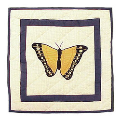 Patch Quilts - Butterfly Kisses Toss Pillow 16 x 16 Inch - Decorative applique Quilted Pillow Bed and Home Ensembles and Bedding items from Patch Magic   - Machine washable  - Line or Flat dry only Patch Quilts - TPBKSS