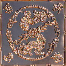"""Decorative Ceiling Tiles - Asian Dragons - Copper Ceiling Tile - 24""""x24"""" - #2490 - Find copper, tin, aluminum and more styles of real metal ceiling tiles at affordable prices . We carry a huge selection and are always adding new style to our inventory."""
