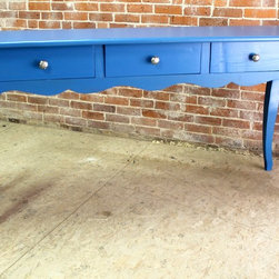 "Coastal Blue Console Table with Scalloped Apron - This whimsical console table will certainly add a pop of color to any room in your home.  Painted in Ben Moore Blueberry Blue, this is a sneak peak of the first of 2 colors to be applied. Being a bright and summery color, we thought it would be fun to photograph it anyway before we apply the black top color. The scalloped apron and cabriole legs make this a fun piece to say the least. The 3 drawers were added for extra storage and are seen with the customers hand selected hardware. Size in photo:  6' l x 20""d x 36"" h."