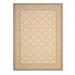 """Safavieh - Courtyard Rug, Beige/Dark Beig, 8' x 11'-2"""" - Safavieh takes classic beauty outside of the home with the launch of their Courtyard Collection. Made in Belgium with enhanced polypropylene for extra durability, these rugs are suitable for anywhere inside or outside of the house."""