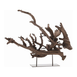 Arteriors - Kazu Sculpture, Natural, Small - Natural tree root sculpture  on iron base is dramatic visual design focal point.