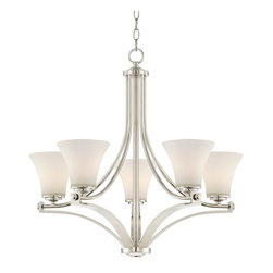 """Possini Euro Design - Possini Euro Lakin 27 1/2"""" Wide Opal Glass Chandelier - Sweeping arms in polished nickel finish create a magnificent display in this contemporary chandelier. Five lights are diffused by the soft illumination of opal glass bells. This modern ceiling light fixture will make a grand statement in your dining room or foyer. Polished nickel finish metal. Opal glass. Takes five maximum 60 watt bulbs (not included). 27 1/2"""" wide. 26"""" high. Includes 6 feet chain and 12 feet wire. Canopy is 5"""" wide. Hang weight is 13 lbs.  Polished nickel finish metal.    Opal glass.   Takes five maximum 60 watt bulbs (not included).   27 1/2"""" wide.   26"""" high.   Includes 6 feet chain and 12 feet wire.   Canopy is 5"""" wide.   Hang weight is 13 lbs."""