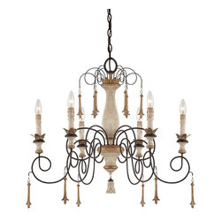 """Frontgate - Provence 6-light Chandelier - White patina finish complemented by gold-finished accents and silver patina glass. Uses 60-watt max candelabra bulbs. Fixture is dimmable. 72"""" chain length. Adjustable height. An elegant yet airy crown for a French Country-style dining room or sitting area, our Provence Six-Light Chandelier is handpainted with a Provencal blanc distressed white finish. Thin spirals of wrought iron stretch away from the beautifully turned wood-grained column, accented with gold bands.  .  .  .  .  ."""