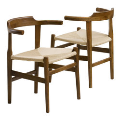 Great Deal Furniture - Bailey Woven Wood Chairs (Set of 2) - The Bailey Wood Chairs offer a new rustic take on modern design. These chairs have a walnut finish and paper chord woven seat for an incredibly unique piece that will standout in any room. Use as a dining chair or as an accent chair in your living room or bedroom.
