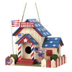 KOOLEKOO - Patriotic Birdhouse - Uncle Sam is ready to welcome some feathered friends to your yard! This darling birdhouse is filled with patriotic charm, featuring an American flag flying high from the flag pole, stars on the roof, and a red and white picket fence. Two entrances and heart-shaped decorations will make your birds feel right at home in the U.S.A!