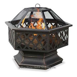 Blue Rhino - Hex Shaped Lattice Firepit - Blue Rhino /Uniflame Hex-Shaped Lattice Firepit - Lattice Cut-outs, Bronze Finish