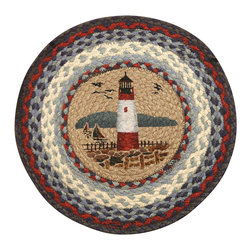 Earth Rugs - CH-15 Lighthouse Round Chair Pad 15.5in. - Lighthouse Round Chair Pad 15.5 in.