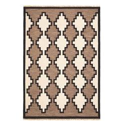 Safavieh - Navajo Flatweave Reproduction - Hand woven 8x10 Navajo inspired carpet. Natural handspun wool. Authentic reproduction.