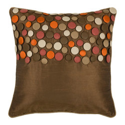 Rizzy Rugs - Rizzy Home Brown 18 Inch x 18 Inch Pillow Cover with Hidden Zipper - - Pillow Cover with Hidden Zipper  - Poly Slub Fabric  - Button and Welt Details  - Primary Color - Brown  - Secondary Color - Coral  -  Hand Wash in Cold Water. Lay Flat to Dry. Rizzy Rugs - T03591