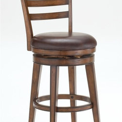 Hillsdale Furniture - Swivel Stool - Ladder Back (27 in. Counter He - Choose Size: 27 in. Counter HeightWell made and sturdyLadder back designBrown leather seats. 22 in. W x 23 in. D x 43 in. H (35 lbs.)Well made and sturdy construction with a dark chestnut finish give the Villagio ladder back swivel stool a defined appearance. The ladder back design makes this stool a timeless classic while the brown leather seats add warmth and comfort.