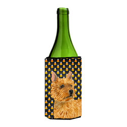 Caroline's Treasures - Norwich Terrier Candy Corn Halloween Portrait Wine Bottle Koozie Hugger - Norwich Terrier Candy Corn Halloween Portrait Wine Bottle Koozie Hugger Fits 750 ml. wine or other beverage bottles. Fits 24 oz. cans or pint bottles. Great collapsible koozie for large cans of beer, Energy Drinks or large Iced Tea beverages. Great to keep track of your beverage and add a bit of flair to a gathering. Wash the hugger in your washing machine. Design will not come off.