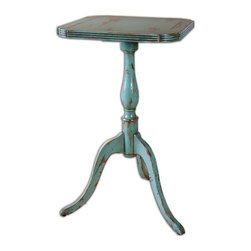 Uttermost - Valent Blue Accent Table - Petite, carved mango wood with mindi veneer, hand finished in robin's egg blue with rubbed through distressing.