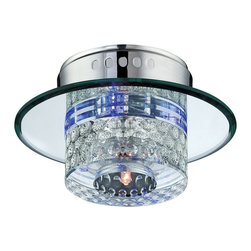 Lite Source - Lite Source Quotom Contemporary Flush Mount Ceiling Light XSL-1165 - From the Quotom Collection, this eye-catching Lite Source flush mount ceiling light features an updated, high-tech look that is sure to delight. This modern flush ceiling light features a combination of finishes for added visual interest: mirror with black plating, crystal accenting and a bold Chrome finish to pull it all together.