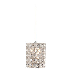 """Possini Euro Design - Contemporary Possini Euro Pantheon 4"""" Wide Crystal Mini Pendant - Turn up the style quotient in a dining room kitchen hallway or stairwell with this beautiful mini pendant embedded with clear crystal squares that will dazzle your decor. Chrome finish details add additional gleam. A sparkling home accent from Possini Euro Design. Sparkling single-light mini pendant. Includes a 35 watt halogen bulb. Chrome finish metal. Clear glass crystal. 4"""" wide. 4 7/8"""" high. Includes 10 feet wire. Canopy is 4 1/2"""" wide.  Sparkling single-light mini pendant.   Chrome finish metal.   Clear glass crystal.    Includes a 35 watt halogen bulb.  Includes 10 feet wire.   5"""" high.   4"""" wide.  Canopy is 4 1/2"""" wide."""