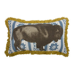 Thomas Paul - Menagerie Collection, Bison Pillow - If only it was possible to sew all the Thomas Paul pillows together into a sofa. It would be the most talked about sofa in town. All the bright colored fauna and flora, the patchwork of silk and linen--it would truly be a masterpiece. The only thing that keeps us from doing this is--we don't know how to sew. And then there is that business about somehow attaching legs. We're even more clueless on how to do that.