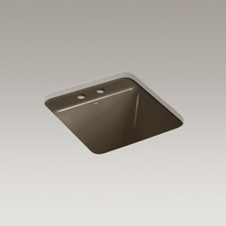 KOHLER - KOHLER Park Falls(TM) under-mount utility sink with 2 faucet holes - The compact size of the Park Falls utility sink offers functionality for smaller spaces. The deep basin gives you ample room for a variety of cleaning tasks. Crafted from enameled cast iron, this sink resists scratching, burning, and staining for years of beauty and reliable performance.