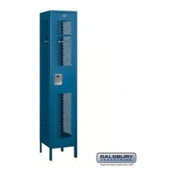 Salsbury Industries - Extra Wide Vented Metal Locker - Single Tier - 1 Wide - 6 Feet High - 18 Inches - Extra Wide Vented Metal Locker - Single Tier - 1 Wide - 6 Feet High - 18 Inches Deep - Blue - Unassembled