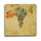 "Tile Art Gallery - Tuscany III - Tumbled Marble Accent Tile, 4in - This is a beautiful sublimation printed porcelain tile entitled ""Tuscany III"" by artist John Zaccheo. The printed tile displays wine grapes with a rustic brown background."