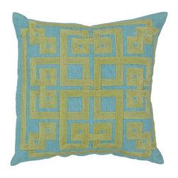 "Surya - Surya 20 x 20 Decorative Pillow, Aqua and Wasabi (LD011-2020P) - Surya LD011-2020P 20"" x 20"" Decorative Pillow, Aqua and Wasabi"