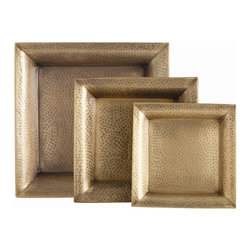 """Arteriors - Athens Trays - Set of 3 - This set of three hammered iron trays finished in antique brass are easy to hold, so they are easy to serve with.  Dry food safe.  Large tray: 17 1/2"""" w x 17 1/2"""" d x 2"""" h  Medium tray: 13 1/2"""" w x 13 1/2"""" d x 2"""" h  Small tray: 11"""" w x 11"""" d x 2"""" h"""