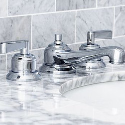 "Covington Faucet, Chrome finish - Built of cast brass for superior strength, our low-flow Covington Faucet exemplifies durable, clean design. With stepped bases and geometric lines, it displays a slender profile. Constructed of cast brass. Fits sink openings with an 8"" widespread. A pre-installed aerator restricts water flow to 2.2 gallons per minute. Professional installation required. Made in the USA. View our {{link path='pages/popups/fb-bath.html' class='popup' width='480' height='300'}}Furniture Brochure{{/link}}."