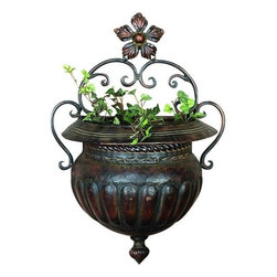 Benzara - Metal Wall Planter - If you are looking for low cost but rare to find elsewhere utility- decor item to bring extra galore that could refresh the decor appeal of short spaces in garden or porch, beautifully carved 21832 METAL WALL PLANTER may be a good choice.