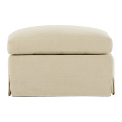 Bryght - Emily Beige Ottoman - A European inspired design that is as perfect as it is timeless. The Emily ottoman brings together streamlined proportions, character and style with its modern take on a classic slip covered design.