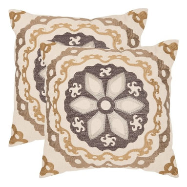 Safavieh - Safavieh Thea Decorative Pillows - Taupe / Gold - Set of 2 - PIL163A-2020-SET2 - Shop for Pillows from Hayneedle.com! Uniquely beautiful you'll love the design and colors of the Safavieh Thea Decorative Pillows - Taupe / Gold - Set of 2. Intricately designed these knife edged throw pillows are made of 60% linen and 40% cotton with a hypoallergenic fiberfill insert and a hidden zipper closure. Available in your choice of size these pillows can be spot cleaned as needed. About SafaviehConsidered the authority on fine quality craftsmanship and style since their inception in 1914 Safavieh is most successful in the home furnishings industry thanks to their talent for combining high tech with high touch. For four generations the family behind the Safavieh brand has dedicated its talents and resources to providing uncompromising quality. They hold the durability beauty and artistry of their handmade rugs well-crafted furniture and decorative accents in the highest regard. That's why they focus their efforts on developing the highest quality products to suit the broadest range of budgets. Their mission is perpetuate the interior furnishings craft and lead with innovation while preserving centuries-old traditions in categories from antique reproductions to fashion-forward contemporary trends.