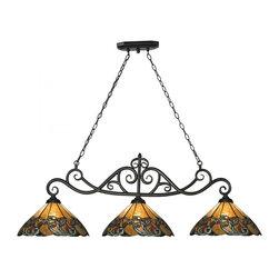 ELK Lighting - Three Light Tiffany Bronze Pool Table Light - Three Light Tiffany Bronze Pool Table Light