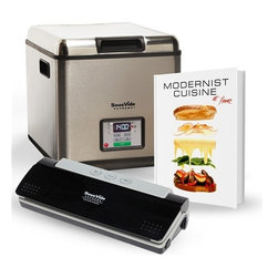 Sous Vide Supreme - Sous Vide Supreme Modernist Cuisine at Home Bundle - Combo Pack includes:- SousVide Supreme Water Oven, 12 qt. model SVK-0001- SousVide Supreme Vacuum Sealer model SVV-00200 (includes 10 vacuum seal Pouches)- Modernist Cuisine at Home Hardcover CookbookSousVide Supreme makes it easy to prepare gourmet meals in under 30 minutes hands-on time, all with incredible flavors and nutritional benefits.Precise temperature control to 1 degree Fahrenheit (0.5 degrees Celsius) Easy to use, few steps, time-saving meal preparationUnit can set it and walk away, includes timerVirtually impossible to overcook a meal, keeps the original flavor of foodsAdded nutritional value. Natural juices and nutrients are retained while cooking in the vacuum seal bagTenderizes inexpensive cutsEasy clean-up, pots and pans are not requiredEnergy-efficient and silent operation, uses energy equivalent to a 60 watt light-bulb