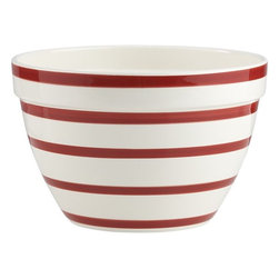 Striped 11¼-Inch Mixing Bowl - Place this candy cane–striped bowl on the kitchen counter with a ton of red delicious apples, and you're done.