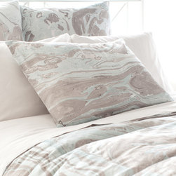 """Pine Cone Hill - PCH Marble Pillow Sham - PCH's Marble pillow sham captivates with mesmerizing style. This accessory's soft blue and gray hues blend in a hand-painted stone pattern for eclectic sophistication. Tie closure; 100% cotton; Insert not included; Machine wash; Available in standard and european sizes; Due to the handcrafted nature, color variations may occur; Designed by Pine Cone Hill, an Annie Selke company Standard: 26""""W x 20""""H; Euro: 26""""W x 26""""H"""