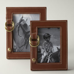 """Lauren Ralph Lauren - Lauren Ralph Lauren Fairwood 5"""" x 7"""" Picture Frame - The Fairwood Collection frames from Lauren by Ralph Lauren have a timeless aesthetic you will cherish for years. Leather with brass rings. LRL monogram sliding clasp on the back. Imported."""