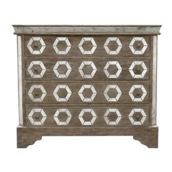 Bliss Studio - Antiqued Mirror Dresser - A beautiful combination of glam, elegance and classic design. Cerused oak wood. Geometric antiqued mirrors.