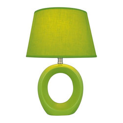 Lite Source - Viko Table Lamp in Green w Donut-Shaped Body - Incandescent bulb not included. UL approved. 1-Year warranty. Bulb type/watt: A/60. Shade dimension: 8 in. L x 11 in. W x 7 in. H. Lamp dimension: 11 in. L x 11 in. W x 16.5 in. H (4.8 lbs.). Product Installation Instructions