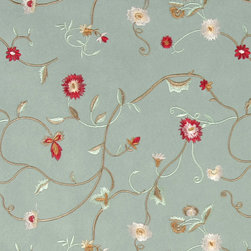 Green Gold Red And Ivory Embroidered Floral Suede Upholstery Fabric By The Yard - P4221 is a heavy duty upholstery grade suede polyester fabric. This fabric is great for all indoor applications.