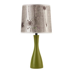 Lights Up - Oscar Boudoir Round Table Lamp in Grass Finish (Driftwood Silk Glow) - Fabric: Driftwood Silk Glow. Bulb not included. Pictured in Grass Finish with Faux Bois Light Shade. Requires one 60 watt bulb. UL listed. On/Off socket switch. Voltage: 120 Volts. 9 in. Dia. x 18 in. H