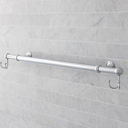 "Sussex Oversized Towel Bar with Double Hooks, Chrome Nickel finish - Maximize hanging space above the tub or on any wall of the bath with this extra-long towel bar.Crafted of stainless steel/zinc alloy.Polished-nickel finish is sealed with a moisture-resistant lacquer.Cast with stepped backplates and arched necks.Features two double hooks at each end.Mounting hardware is included. Extends from 26.5"" to 49.5"" to fit in any space. View our {{link path='pages/popups/fb-bath.html' class='popup' width='480' height='300'}}Furniture Brochure{{/link}}. Catalog / Internet only."