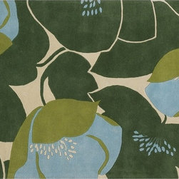 Field Poppy Rug - Green - Hand constructed with high quality New Zealand wool, our tufted pile field poppy rug creates a fresh & modern accent to your favorite spaces. Soft to the touch and equally durable, this rug offers both comfort and function. These big and bold poppies and leaves are available in two color ways to suite your taste.
