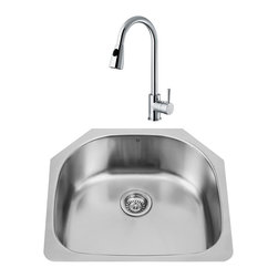 """VIGO Industries - VIGO All in One 24-inch Undermount Stainless Steel Kitchen Sink and Chrome Fauce - Revitalize the look of your kitchen with a VIGO All in One Kitchen Set featuring a 24"""" Undermount kitchen sink, faucet, soap dispenser, matching bottom grid, and sink strainer."""