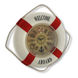 Red / White Life Ring Nautical Knot Wall Clock 13.5 In. - Add a cheerful finishing touch to rooms with a nautical theme with this life ring wall clock. It measures 13 1/2 inches in diameter, has white rope accents, and is made of a foam core covered with fabric. The plastic covered face of the clock features nautical knots as markers, with a life ring at the 12 position and an anchor at the 6. It has black hands and a red second hand. The clock features a quartz movement and runs on 1 AA battery (not included). This clock looks great in homes, restaurants, and bars, and is sure to be admired by all.