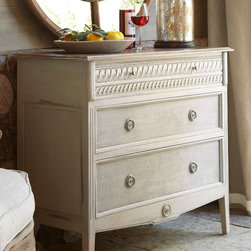 Bellamy Chest - Taking its design cue from the elegance of Louis XVI furnishings, this 3-drawer, hand-painted mahogany chest features unique intricate carved detail, a distressed crackled ivory finish and beautifully textured burlap drawer fronts with an antique ivory wash. Painted antiqued brass ring hardware completes the look.