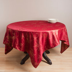 None - Jacquard Red Holiday Tablecloth - With a beautiful jacquard holiday design,this vibrant tablecloth will add a festive look to any space. Update your holiday decor with this elegant tablecloth.