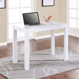 None - Altra Parsons White Laptop/ Writing Desk - This white writing desk from Altra Parsons is ideal for using your laptop, writing, studying, or handcrafting. The white finish and clean lines give this desk a light modern look, and the handy drawer will help you to keep it free from clutter.